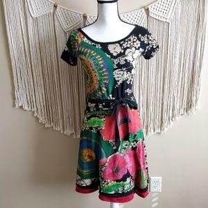 Desigual Floral Multi-Color Sun-Burst Midi Dress S